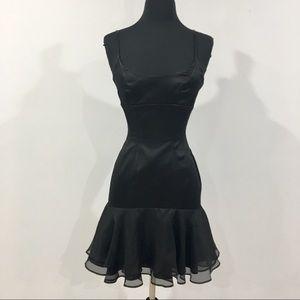 BEBE Black Trumpet Mini Dress